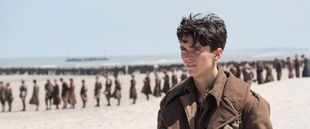 Fionn Whitehead in Dunkirk directed by Christopher Nolan