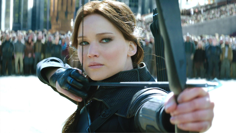 katniss everdeen in the film adaptation of hunger games mockingjay