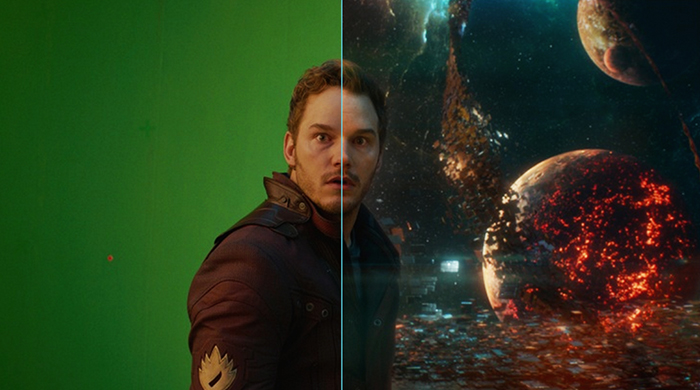 Chris Pratt in front of a green screen for Guardians of the Galaxy