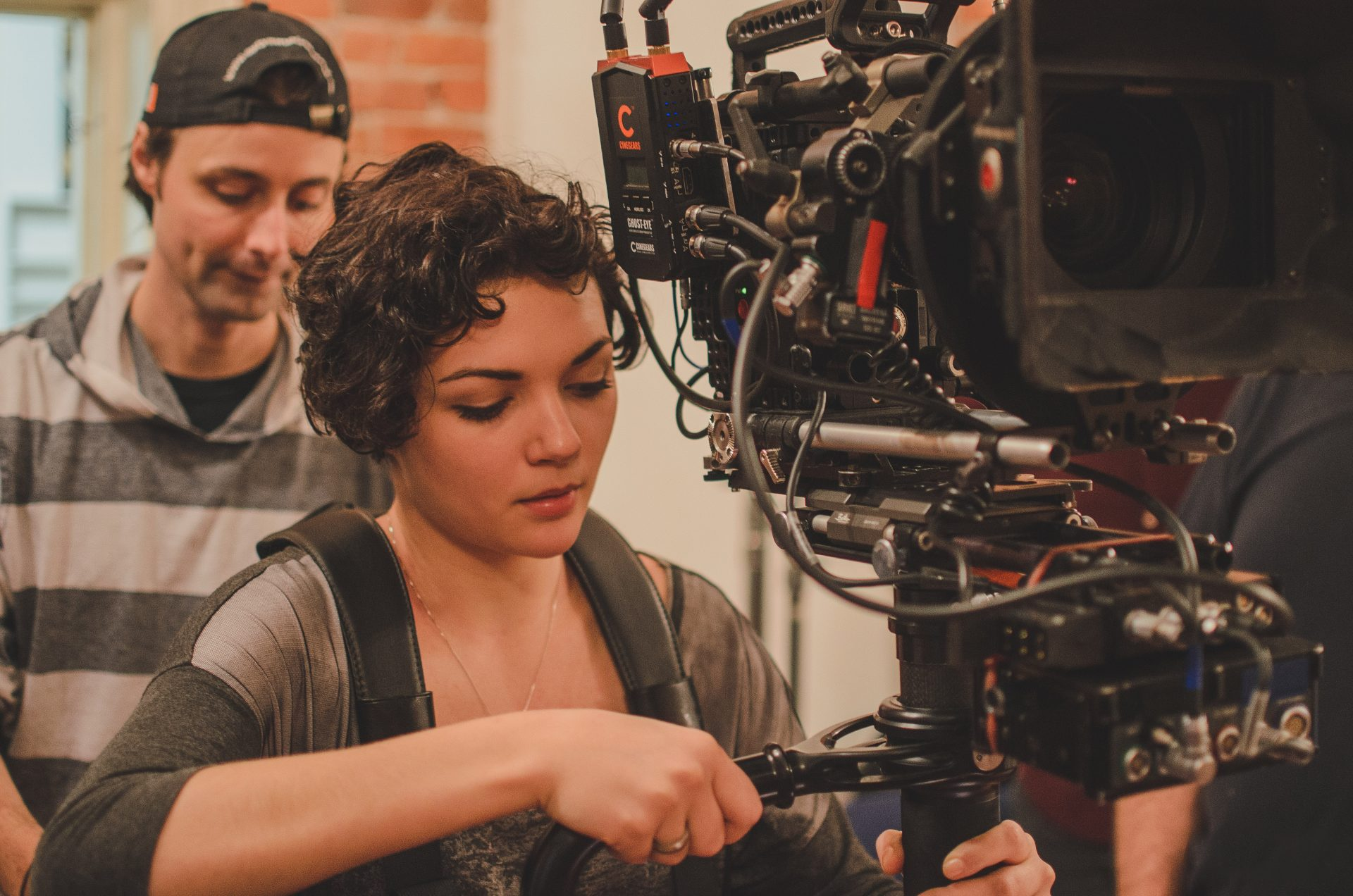 film school students working a camera