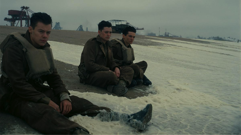 Fionn Whitehead and Harry Styles in Dunkirk directed by Christopher Nolan