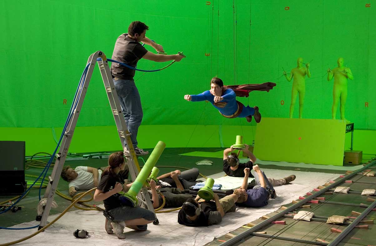 "superman green screen compositing David James. From the film ""Superman Returns"". Courtesy of Warner Bros., 2006."